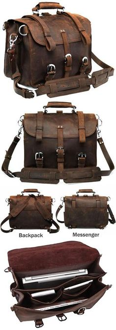 Large Vintage Handmade Antique Crazy Horse Leather Travel Bag / Satchel - Backpack / Messenger