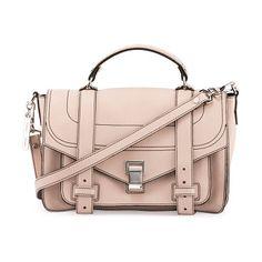 "PS1+ Medium Leather Satchel Bag by Proenza Schouler. Proenza Schouler ""PS1+"" grained calfskin satchel bag. Top handle with rings; 2"" drop. Detachable, adjustable shoulder..."