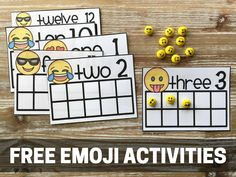 Free Emoji Activities from Primary Playground. These are great for counting, addition, and so much more. Numbers Kindergarten, Math Classroom, Kindergarten Activities, Classroom Themes, Preschool Activities, Maths, Kindergarten Literacy, Autism Activities, Free Activities