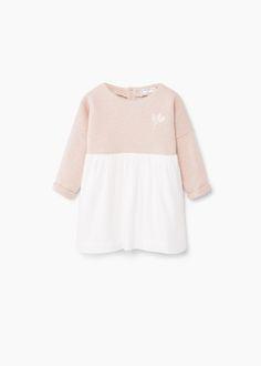 Vestido bicolor algodão -  Criança   MANGO Kids Portugal