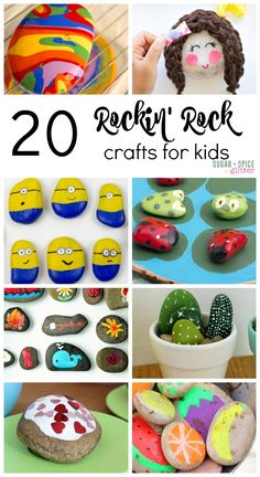 20 Rockin Rock Crafts for Kids - everything from beautiful decor idea for homemade gifts, to rock games and rocks reimagined for pretend play. An endless craft supply - rocks are the perfect free craft supply!