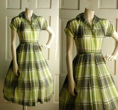1950s Summer Dress / Vintage Cool Green Plaid Day by DalenaVintage, $85.00