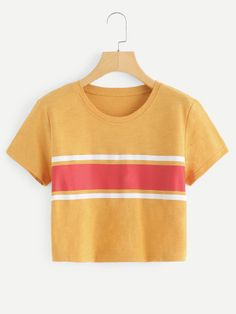 Shop Contrast Striped Crop Tee at ROMWE, discover more fashion styles online. Crop Top Outfits, Trendy Outfits, Cool Outfits, Fashion Outfits, Belted Shirt Dress, Tee Dress, Combo Dress, Looks Cool, Crop Tee