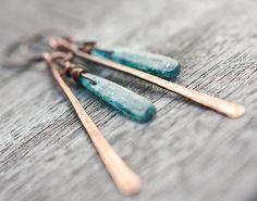 ...with blue  Long Boho Earrings Blue Kyanite Copper Rustic Tribal by daimblond, €20.00