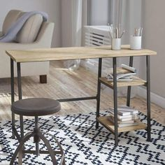 A minimalist oak desk with metal legs featuring two shelves for books, office supplies, and more thatll look clean and sophisticated in any modern style living space. Home Office Furniture, Home Office Decor, Home Decor, Furniture Ads, Urban Furniture, Small Furniture, Furniture Market, Farmhouse Furniture, Furniture Outlet