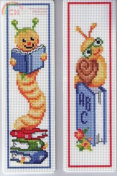 Insect book worm cross stitch.