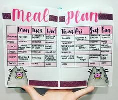 Bullet journal meal plan!  I have a pusheen theme for this week can you tell? I used crayola supertips for the calligraphy, crayola pencils…