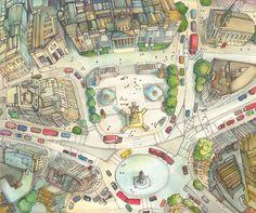 illustration of aerial landscape by Abigail Daker   http://www.abigaildaker.com/18158/blog #art #illustrations