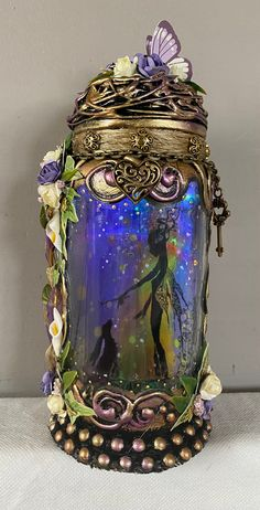 Excited to share this item from my #etsy shop: Handmade bespoke 9inch beautiful fairy jar . Beautiful Fairies, How Beautiful, Fairy Jars, Winter Fairy, Baby Fairy, T Lights, Baby Winter, Gold Paint, Etsy App