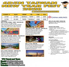 6 DAYS TAIWAN NEW YEAR FEST 2020 (With Round Trip Airfare via China Airlines) Minimum of 2 persons  For more inquiries please call: Landline: (+63 2) 8 282-6848 Mobile: (+63) 918-238-9506 or Email us: info@travelph.com #Taiwan #TravelPH #TravelWithNoWorries Round Trip, Taipei, Manila, China, Day, Porcelain
