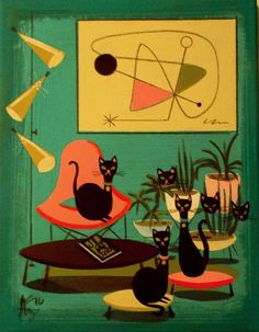 El Gato Gomez Painting Retro 50's Mid Century Modern Black Kitty Cat Eames Knoll | eBay Retro Kunst, Retro Art, Mid Century Modern Decor, Mid Century Art, Black Cat Art, Black Kitty, Black Cats, Illustrations, Illustration Art