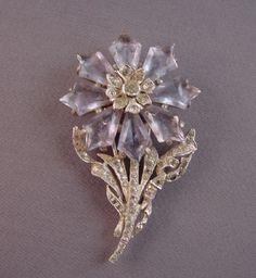 DeRosa lavender flower fur clip  1935