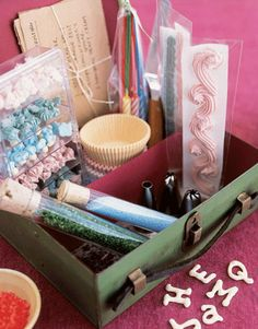 box filled with cake decorating supplies