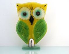 Fused glass Standing owl sculpture  Housewarming by virtulyglass, $35.00