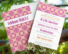 Pink and Orange Wedding Invitation Set