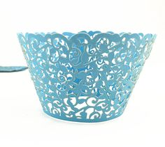 Yansanido 12 set pink Filigree Artistic Bake Little Vine Lace Laser Cut Cupcake Wrapper Cup Muffin Case Trays Collars Wrappers (12blue) * This is an Amazon Affiliate link. You can find out more details at the link of the image.