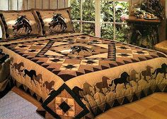 Western Horse Quilt - love this! This would look great in my future living quarters horse trailer. Would make the corner ends with elastic to fit over the mattress & not hang down into the living area for a gooseneck bed! Western Quilts, Western Bedding, Country Quilts, Western Bedrooms, Amish Quilts, Star Quilts, Western Theme, Western Decor, Cowboy Western