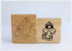 TRICK or TREAT Rubber Stamps Set of Two by RaindropVintageShop