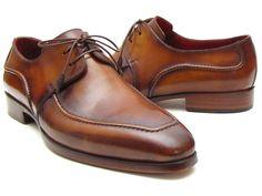Paul Parkman Handmade Men's Derby Dress Shoes Brown Italian Leather