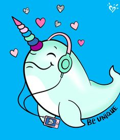 Here's to cool narwhals who give new meaning to traveling in pods. <<< a group of narwhals is actually called a blessing Narwhal Drawing, Cute Narwhal, Unicorns And Mermaids, Magical Unicorn, Cartoon Pics, Cute Disney, Spirit Animal, Cute Drawings, Cute Wallpapers