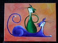 Il sagit de la peinture acrylique originale des deux chats de Fantasy étant heureuse et joyeuse - ils vous font sourire ?    Ce nest pas une impression mais la peinture originale.    Il sagit dune excellente occasion pour vous de posséder une pièce originale de lart qui se glisse facilement dans votre maison, ou de présenter une œuvre dart pour les amis et la famille.   Je suis un grand amoureux des chats, et jai décidé de les peindre de façon imaginative, essayer de transmettre le caractère…