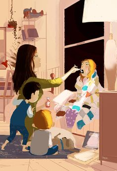 Still sick. It's going to be a Movie Marathon Weekend. Any suggestions for good family flicks to watch? Family Illustration, Graphic Design Illustration, Illustration Art, Pascal Campion, Movie Marathon, Couple Art, American Artists, Art Drawings, Sketches