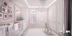 Projekt wnętrza pokoju dziecięcego. Pokój dziewczynki. Różowa przyjazna kolorystyka i delikatna, łagodna stylistyka. Więcej na www.artcoredesign.pl