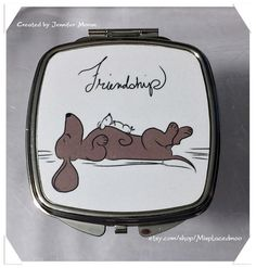 Cute Dog & Fancy Rat  Best Friends Compact Mirror by Misplacedmoo $17 http://etsy.com/shop/misplacedmoo Misplacedmoo is my etsy store it's full of handmade gifts, compact mirrors,bracelets & wall art. If you like fairy tale stories and romantic dreamy art and a lot of cute you'll love it!