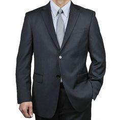 Men's Black Wool 2-button Suit (Black- 46R / 40 Waist)