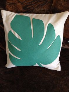 Tropical Jade Green Turquoise Monstera Palm Frond Leaf Felt