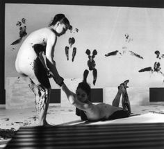 Yves Klein, 'Performance 'Anthropometries of the Blue Epoch' ', March ARS/Art Resource International Klein Blue, Post Painterly Abstraction, Yves Klein Blue, Jasper Johns, Blue Bodies, Portraits, Epoch, Photo Black, Land Art
