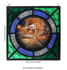 Reserved. Another version can be made. Stained Glass window, The Ancient of Days, after William Blake, Leaded Panel, hand painted, WB1