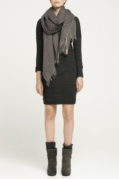 ruched dress, scarf, crinkled socks, and boots