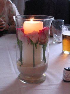 Hurricane Vase/Roses Centerpiece