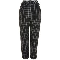 TopShop Checked Ruffle Peg Trousers (€65) ❤ liked on Polyvore featuring pants, trousers, monochrome, tapered trousers, high waisted tapered pants, high rise pants, checked trousers and checked pants