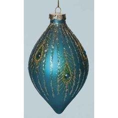"5.5"" Regal Peacock Blue Glass Jeweled Finial Christmas Ornament"