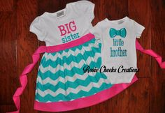 Big Sister Little Brother with Bow Tie Set - Big Sister Dress/Bodysuit Set -Aqua Chevrons Pink - Coming Home Outfit -Baby Gift on Etsy, $68.00