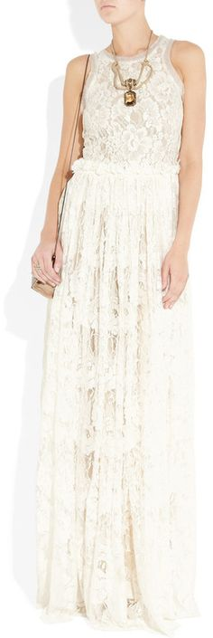 Lanvin Tulletrimmed Lace Gown in White (ivory)