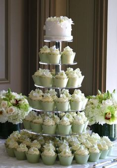 blush green cupcake wedding cakes with round tiers