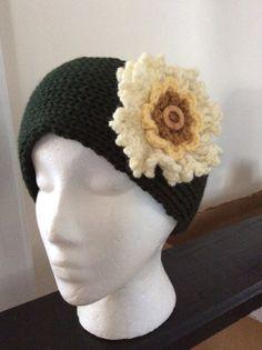 Knitted Flower Headband, Knit Earwarmer, Ski Accessory, Flower Headband, Women Fashion, Youth - Adult