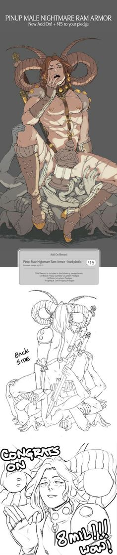 HamletMachine's male pinup - nightmare ram armour