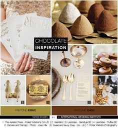 Wedding Inspiration Board Belgian Chocolate - Planche d'inspiration mariage chocolat belge - International Wedding Institute Inspirations Magazine, Belgian Chocolate, Mood, Shop Signs, Wedding Inspiration, Boards, Place Card Holders, Sweet, Deco