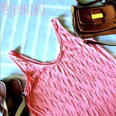 🚨Pink distressed tank🚨 🚨FINAL PRICE!!!🚨This tank is so unique! Soft pink heather color with all-over distressed pattern. Gives shirt a sheer look--looks great with a cami or bandeau under or as a swim coverup. Purchased at Nordstrom rack Soprano Tops Tank Tops