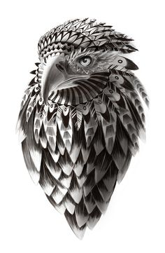 black and white ornate rendered tribal eagle Art Print