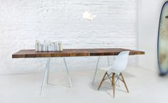 Experiment Table by Supergrau. Great balance of Wood and White