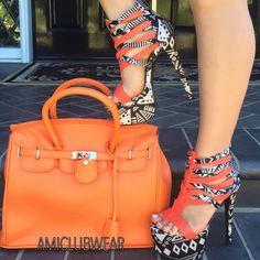 Orange Multi Black Strappy Heels