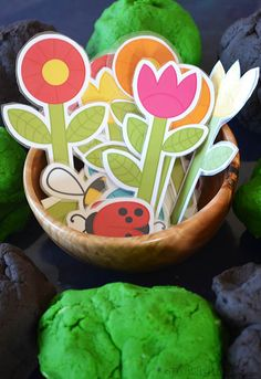 Printable Playdough Garden! Free printable accessories to make a playdough garden.
