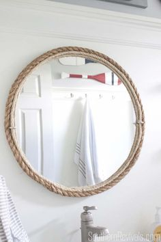p/diy-rope-bathroom-mirror-tutorial-nautical-bathroom-southernrevivalscom delivers online tools that help you to stay in control of your personal information and protect your online privacy. Bathroom Mirror Design, Modern Bathroom Decor, Simple Bathroom, Bathroom Styling, Bathroom Ideas, Gold Bathroom, Bathroom Remodeling, Nautical Small Bathrooms, Beach Bathrooms