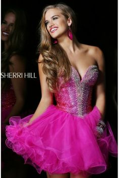 Sherri Hill 21062 Sweetheart Beaded Bodice Fuchsia Mini Dress