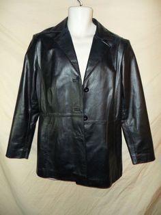 NICE Worthington Women's Black Leather Button Front Jacket Hip Coat Sz-Medium #Worthington #BasicJacket
